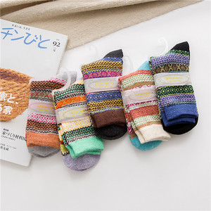 Image 4 - Winter New Products Warm Thicken National Wind Womens Wool Medium Tube  Socks Factory Wholesale 5 Pairs