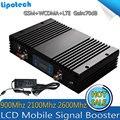 Tri Band Super Power 70dB GSM + UMTS 2100 + LTE2600 Смарт Сотовый Телефон Повторитель 2 Г/3 Г/4 Г Мобильный Усилитель Сигнала с жк-дисплеем