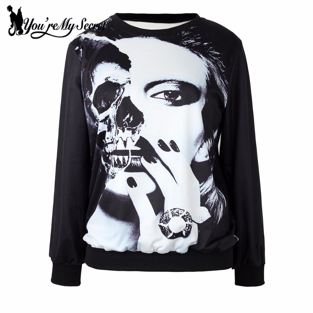 [Youre My Secret] Fashion Autumn Women Halloween Hoody Long Sleeve 3D Printed Black Whit ...