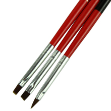 3pcs/lot Red Soft and Professional Pen Nail Art Brushes Tool Set For Women