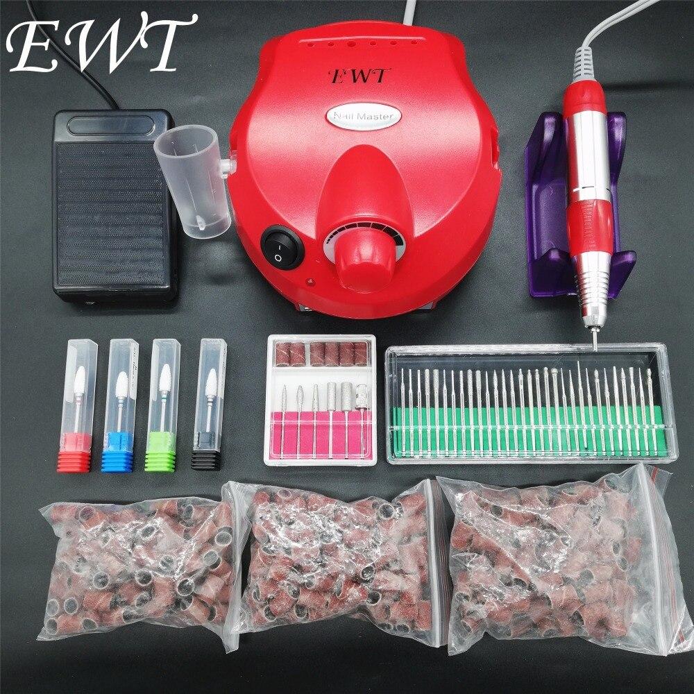 Professional Manicure Nail Polisher Tools Nail Art File Bits Manicure Kit 35000 RPM 110V/220V Red Electric Nail Drill Machine цена