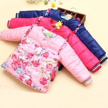 Small Flower Winter Kid Girl Hooded Outwear Baby Korean Cotton Warm Jacket Children Thick Fashion Parkas Child Clothes