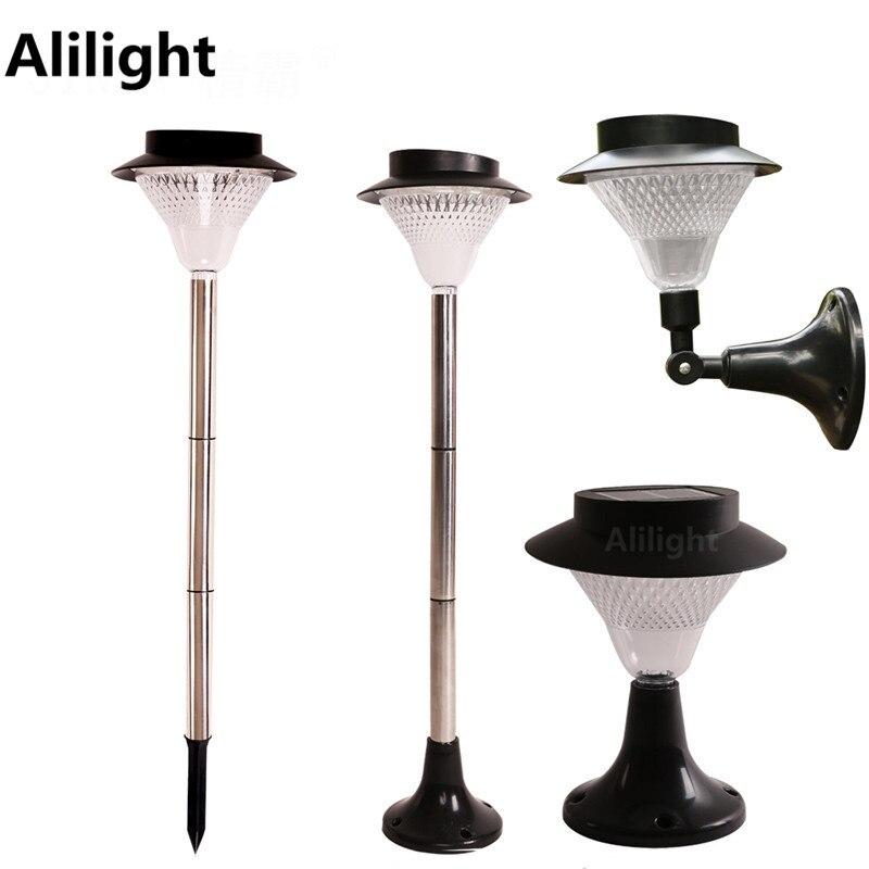 Waterproof Stainless Steel Solar Led Column Lights Outdoor Path Garden Lighting Yard Lawn Fence Pillar Lamp