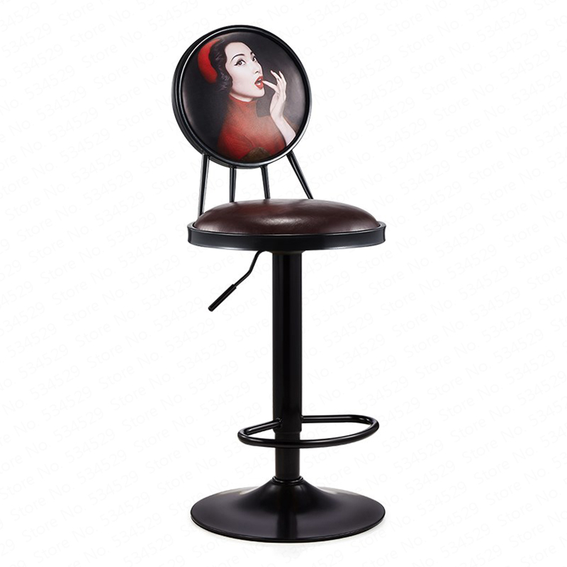 B Lift Bar Chair Wrought Iron Bar Stool European Style Chair High Stools Home Bar Stool Retro Coffee Front Desk Chair