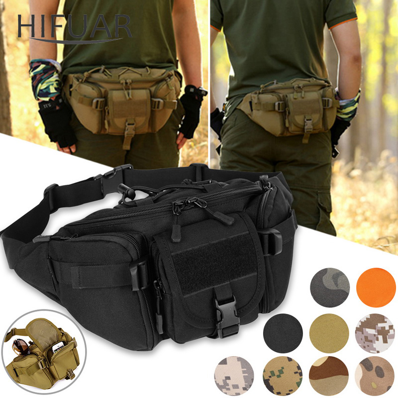 New Men Hip Packs Outdoor Waterproof Bag Male Tactical Waist Bag Molle System Pouch Belt Bagpack Sports Bags Military-in Waist Packs from Luggage & Bags