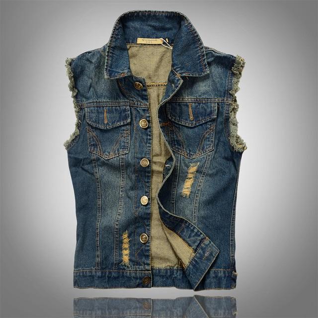 navy blue Jeans Vest men 2016 fit men's casual denim waistcoat sleeveless jacket big size M-5XL