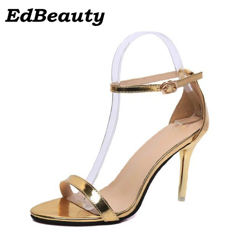 Gold Silver High Heels 2017 Summer Gladiator Sandals Sexy Buckle Pumps Casual Platform Wedding Shoes Woman size 35-39 2017 suede gladiator sandals platform wedges summer creepers casual buckle shoes woman sexy fashion beige high heels k13w