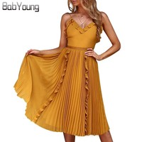 BabYoung Summer Dress Sexy Vestido V neck Sleeveless Plested Lace Ruffles And Backless Dresses Elegant Party Beach Dress Yellow