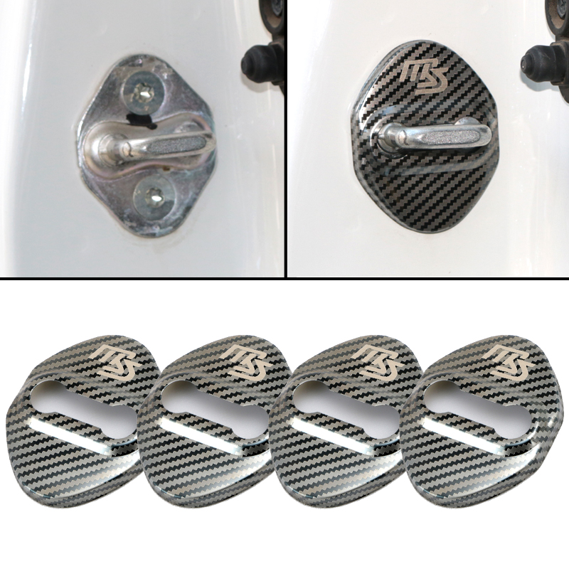 4pcs New Car Carbon fiber pattern Auto Door Lock Cover Case For <font><b>Mazda</b></font> 2 <font><b>Mazda</b></font> 3 MS <font><b>Mazda</b></font> 6 CX-5 <font><b>CX5</b></font> <font><b>accessories</b></font> Car-Styling image