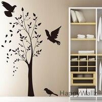 Tree Wall Sticker Birds Tree Wall Decals Baby Nursery Vinyl Tree Home Decorating DIY Vinyl Tree
