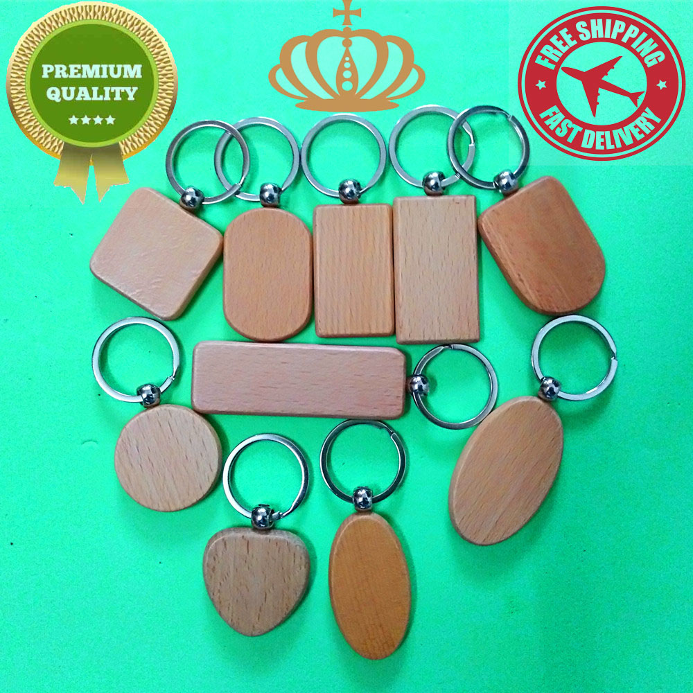 1 Pcs Natural Wooden Keychains DIY Blank Keyring Round/Square/Rectangle/oval/Heart/Shield keychain Anti Lost Wood Customized