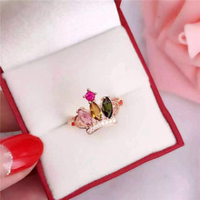 opening design natural blue tanzanite gem ring natural gemstone ring s925 silver trendy triangle snake women party gift jewelry KJJEAXCMY fine jewelry S925 silver rose tourmaline crown opening women's ring jewelry natural gem parcel post.