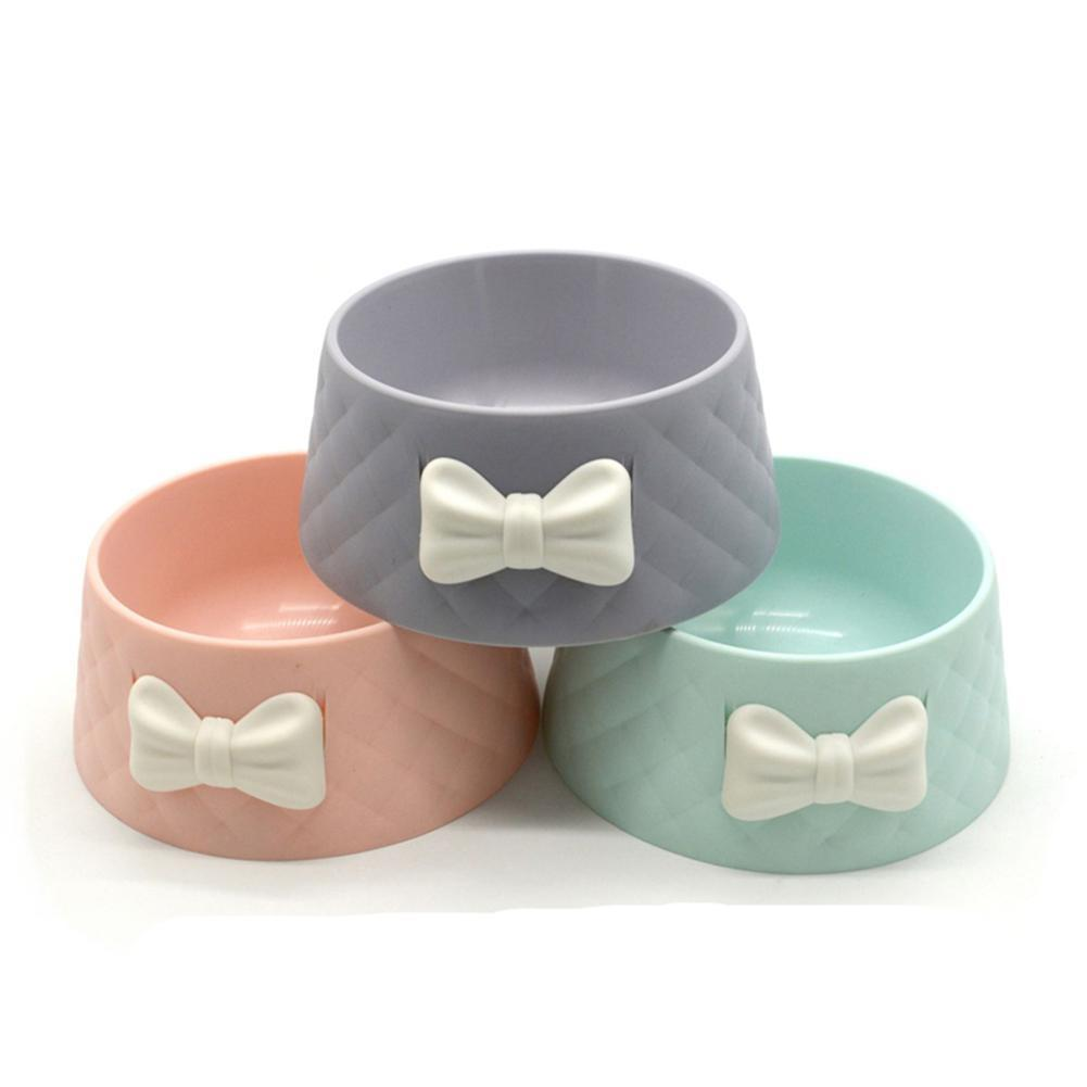 Cute Pet Feeders Bowknot Diamond Pattern Leakproof Bowl For Dog Cat Pets Food Bowls Puppy Water Drinking Bowl Feeding Bowls Cats
