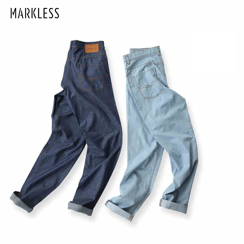 Markless Fashion Men's Washed Jeans Male Summer Thin Fluid Light Color Skinny Pants Slim Pencil Casual Jeans Linen Trousers harajuku skinny pencil jeans new women fashion slim mid waisted casual holes skinny pencil jeans