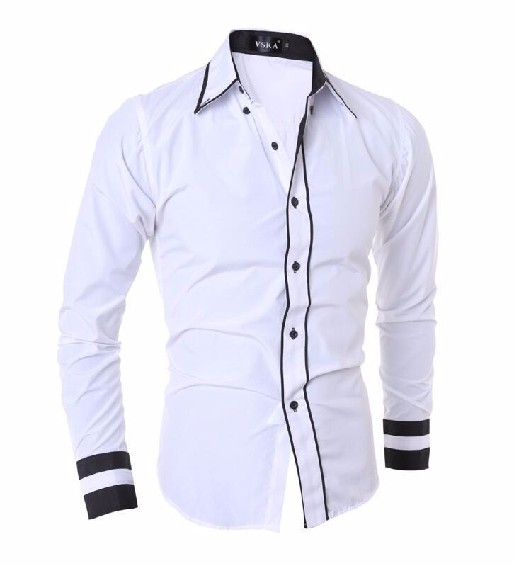 Men Shirt 17 Fashion Brand Men'S Cuff Striped Long-Sleeved Shirt Male Camisa Masculina Casual Slim Chemise Homme XXL SHDWQ 9