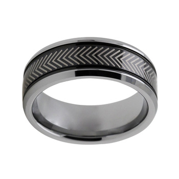 8mm Black Polished Bevelled Edged Inlaid Tungsten Ring Custom tungsten rings