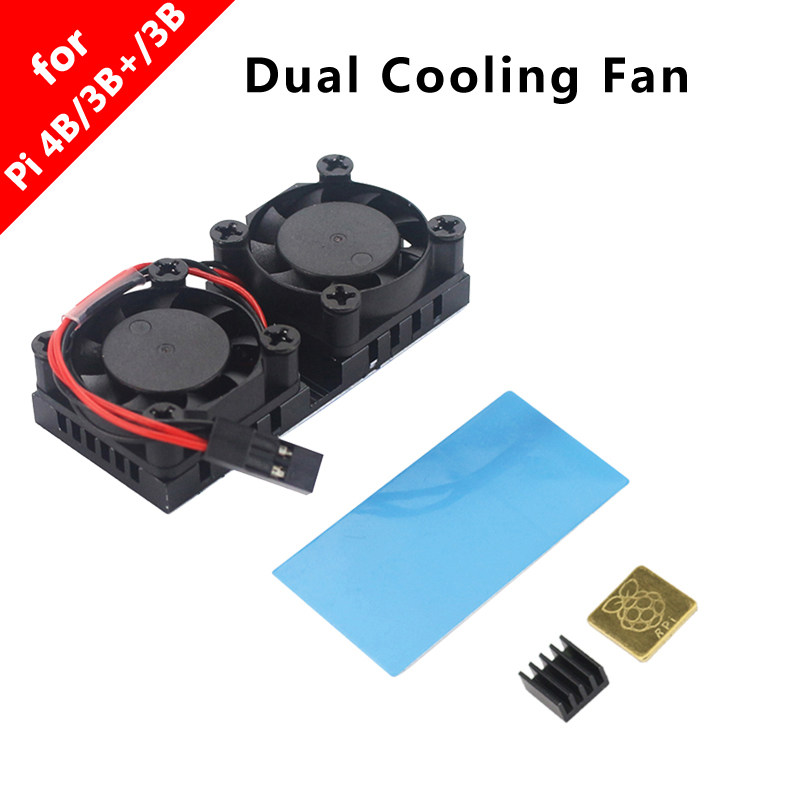 Raspberry Pi 3 Dual Fan With Heat Sink Double Cooling Fan Cooling System Cooler Radiator For Raspberry Pi 3 Model B 3B Plus 3B+