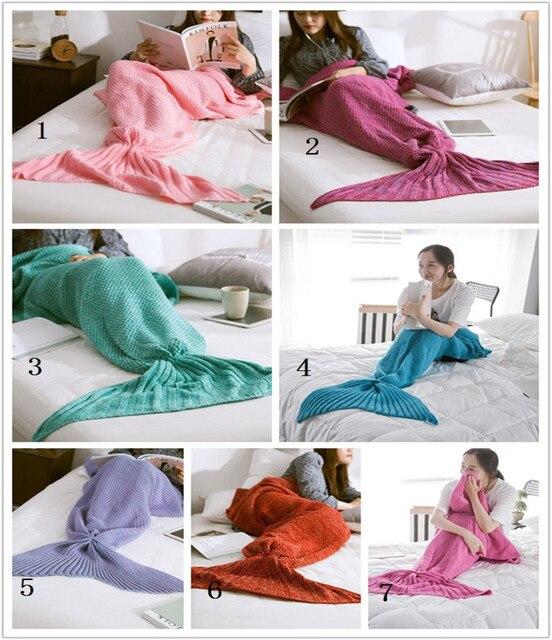 Famifun Mermaid Tail Blanket Crochet Mermaid Blanket Knitted Blanket
