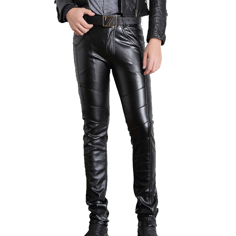 Men PU Leather Pants Skinny Motorcycle Riding Pants Slim Fit Trousers for Men Hip Hop Full Length Pants Size 28-36