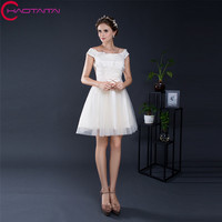 Short Prom Dresses 2018 Vestido De Festa A Line Scoop Neck Tulle With Lace Bandage Graduation