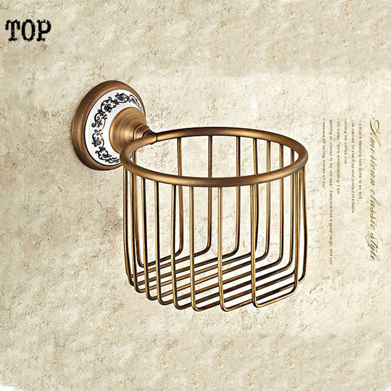 Wall Mounted Antique Brass Finish Bathroom Accessories Toilet Paper Holder bathroom sets ceramic printing toilet roll holder diamond ceramic base golden brass bathroom toilet paper holder wall mounted