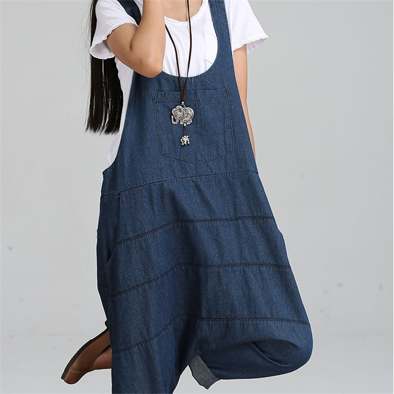 Cheshanf 2020 New Denim Jumpsuits Pocket Rompers Stripped Loose Women Fashion Casual Denim Overalls Harlan Jumpsuits