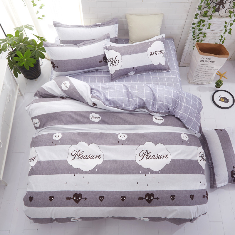 ⑧Juego de cama textil hogar raya gris funda nórdica reina