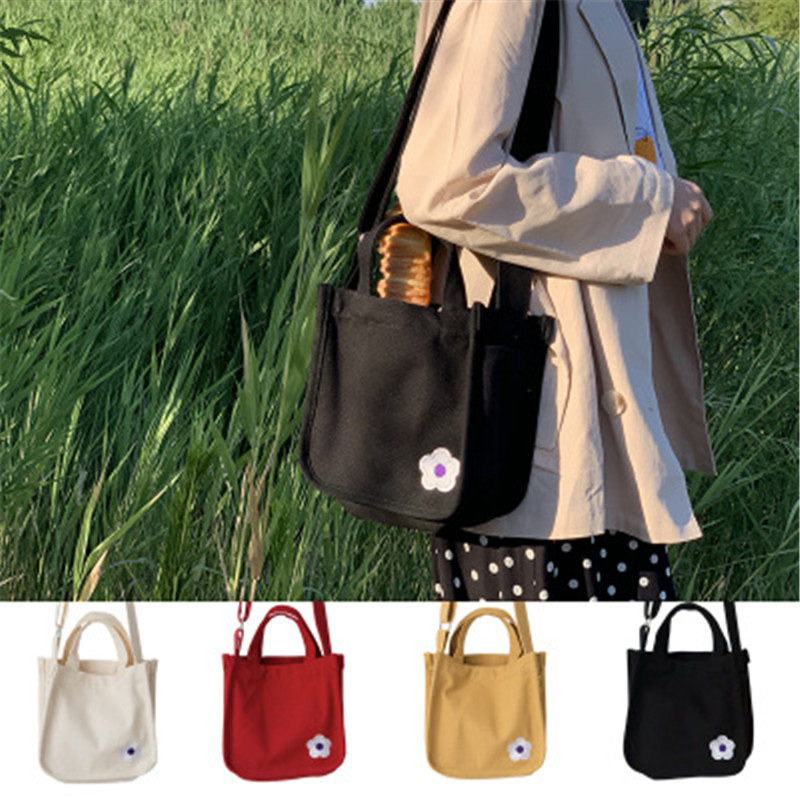 2019 New Fashion Canvas Bag Embroidery Flower Messenger Bag Tote Bags For Women Shoulder Bag Tote Folding Shopping Bag