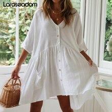 Пляжное платье Saida de Praia, хлопковое пляжное платье-кафтан, Пляжное парео de Playa Mujer, кружевное бикини, накидка для купальника