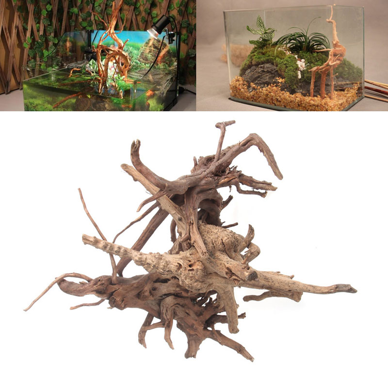 Wood Natural Trunk Driftwood Tree Aquarium Fish Tank Plant Stump Ornament Decor  Yy56