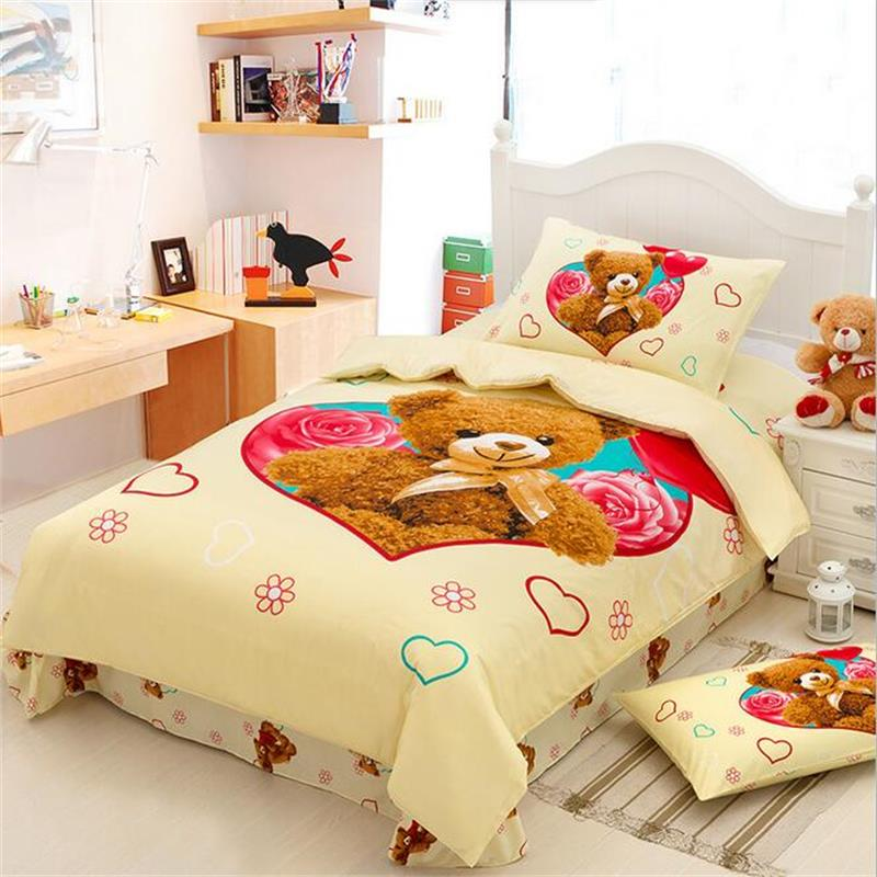 Cute Teddy Bear Kids Bedding Set 100% Cotton Duvet Cover 155*200cm Single Bed  Sheets Pillowcase Children Bedroom Textile Sets