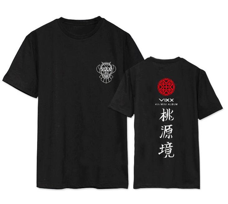 Kpop Vixx New Album Shangri La Member Name Printing O Neck Short Sleeve T Shirt  Summer Fashion Unisex T-shirt