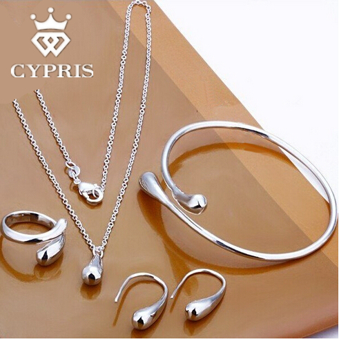 Silver Water drop drip Jewelry set Ring Necklace bangle earrings