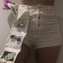 Harajuku White Shorts Women High Waist skinny Ladies with Bag Cotton Hot Short Pants Streetwear Summer Cargo