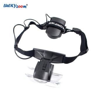 3d1e213a77 Diadema gafas lupa con luces LED lupa iluminada 3.5X 2.5X 2X 1.5X 1X lentes  lupa de lectura