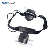 1a1458a530f1e Headband Óculos Lupa Lupa Com Luzes LED Iluminado Lupa 3.5X 2.5X 2X 1.5X
