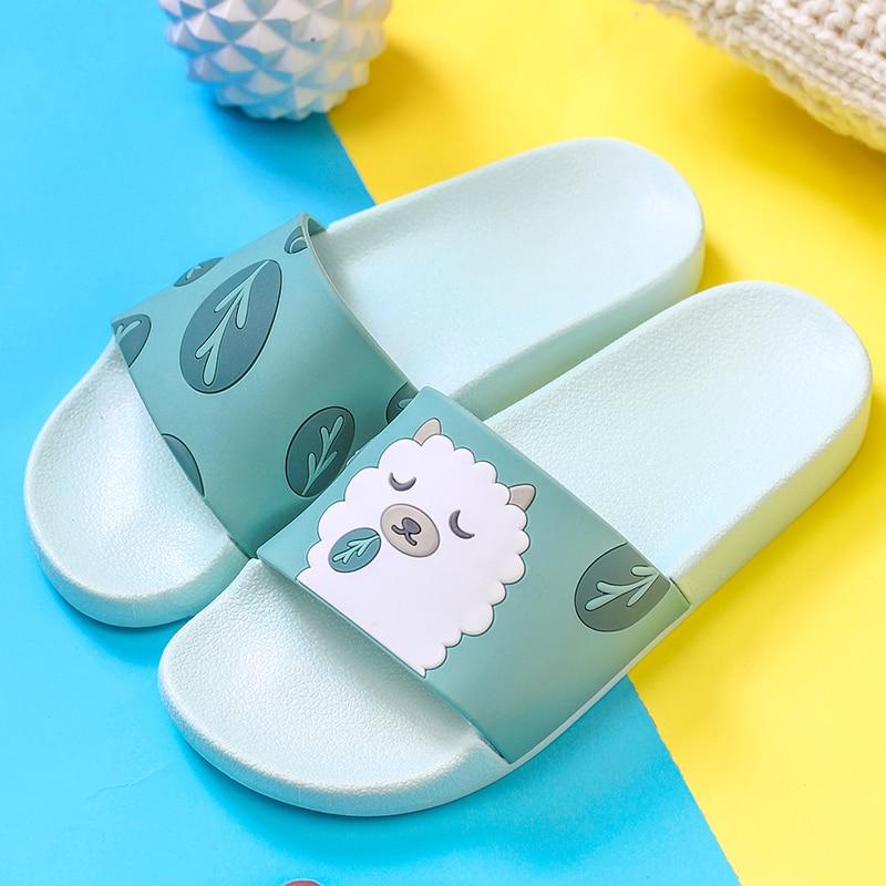 Women Slide Sandals Slides Cartoon Giraffe Penguin Sheep Summer Slippers Women Shoes Flip Flops Beach Slides Zapatillas Mujer