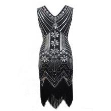 New Elegant Sequins Tassel Dress for Women European Fashion Vintage V-neck Sleeveless Party Dresses Night club Wedding