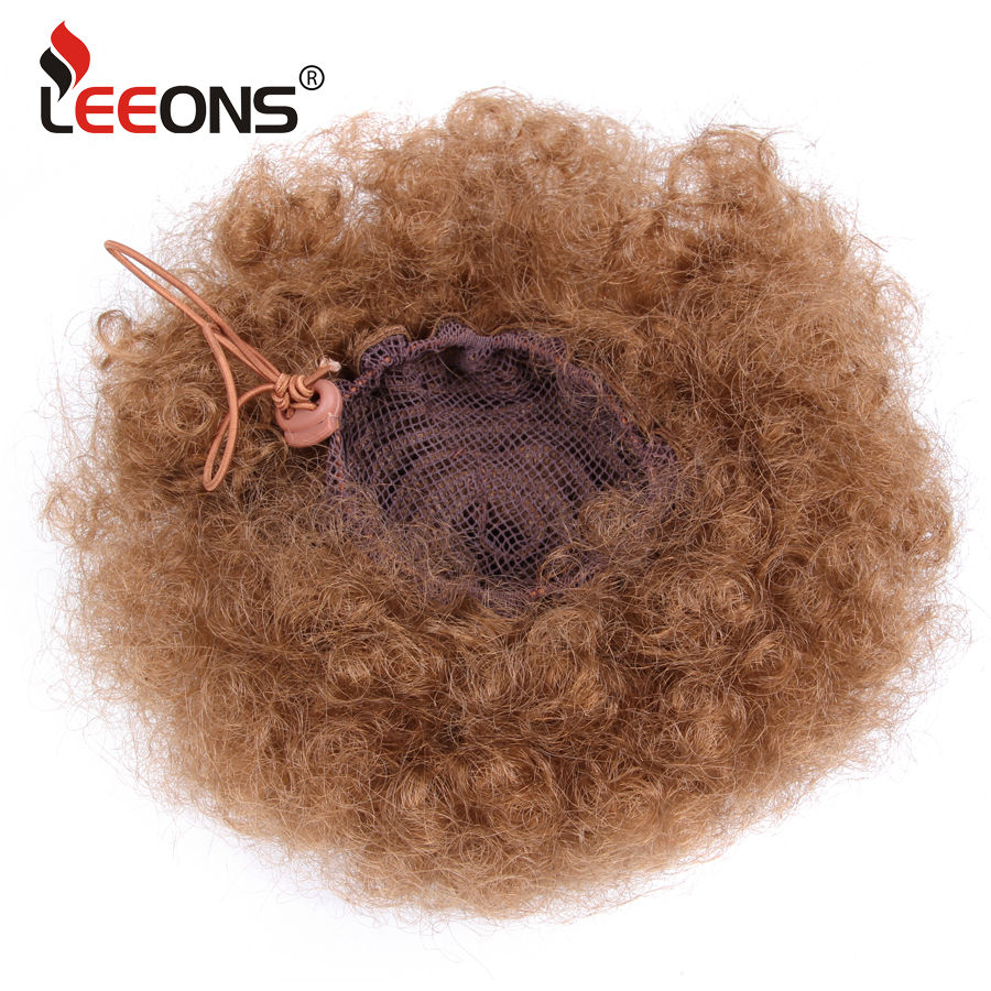 Leeons Brown Black Synthetic Ponytail Hair Extension Clip On Pony Tail Kinky Ponytail Afro Puff Kinky Curly Ponytail Hairpiece in Synthetic Ponytails from Hair Extensions Wigs
