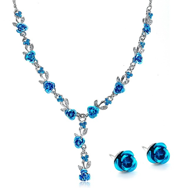 Fashion Metal Rose Necklace Earrings Wedding Bridal Jewelry Sets For Women Flower necklace marriage african flower jewelry set