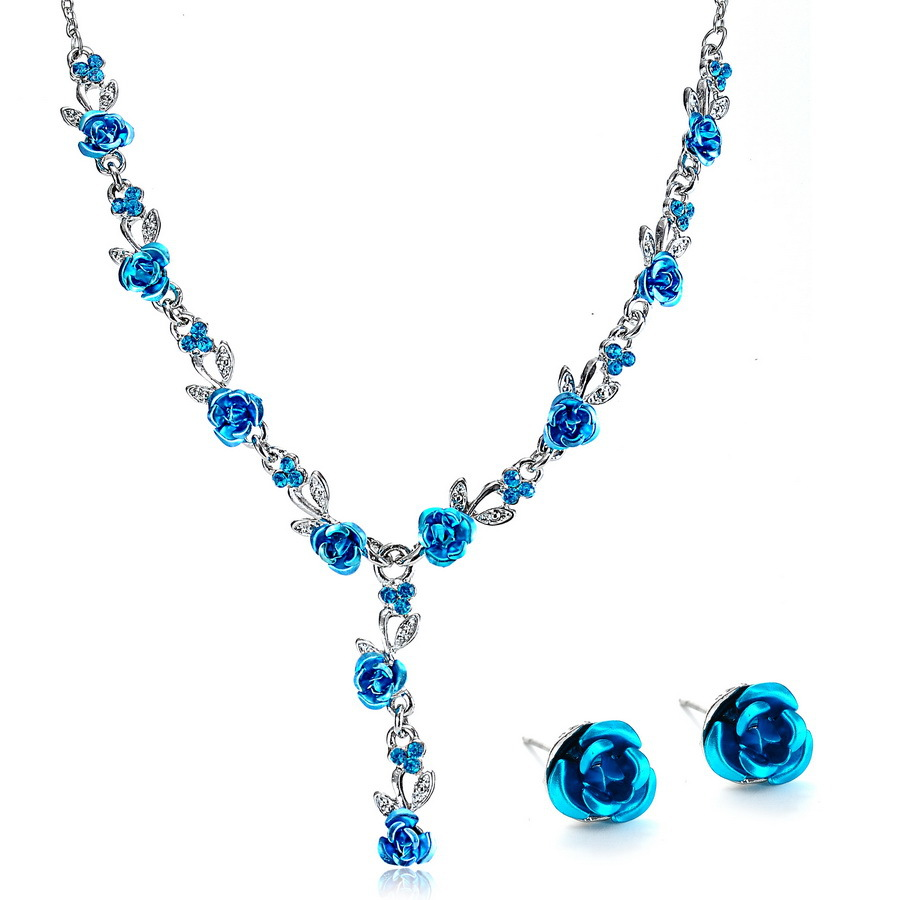 Fashion Vintage Necklace Earrings Wedding Bridal Jewelry