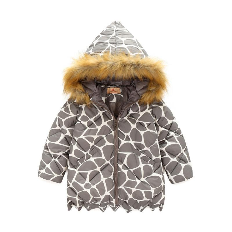 ФОТО 2017 new autumn winter Outerwear leopard print girls coat children fur collar jackets warm kids clothes snowsuit kids coat