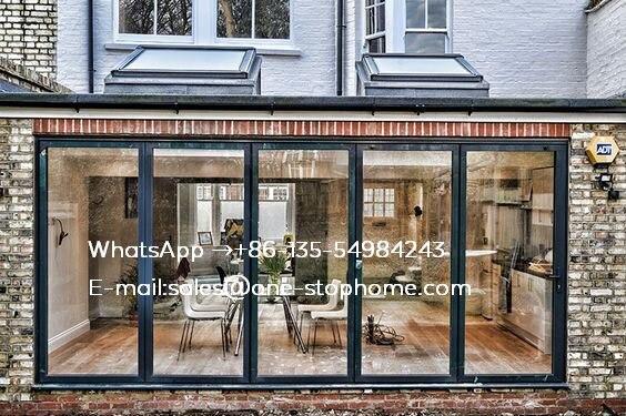 Waterproof Veranda Double Glazing Aluminum Bi Folding Door,Australian Standard Outdoor Dividers Soundproof Fold Door