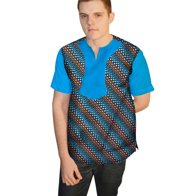100% Cotton Dashiki Men Top Print Tee Bazin Riche African Men Clothes  Patchwork Top Shirt Traditional African Clothing WYN395 9509a4f2c755