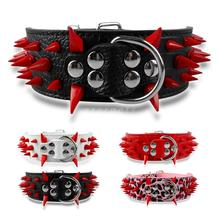 2″ Wide Sharp Spiked Studded Leather  Collars Pit-bull Bulldog Big S M L XL