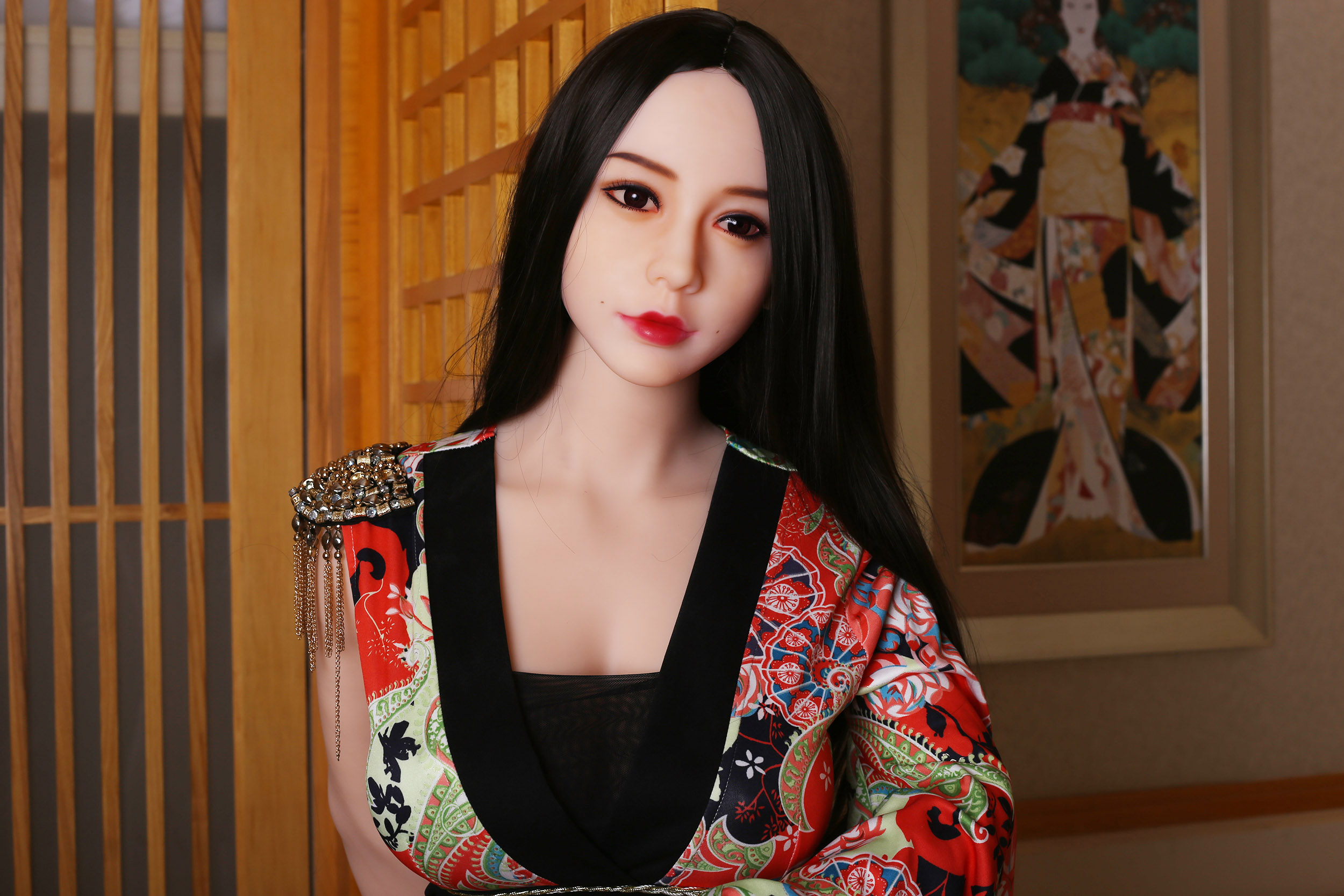 <font><b>168cm</b></font> <font><b>Silicone</b></font> <font><b>Sex</b></font> <font><b>Dolls</b></font> with Skeleton Japanese Full Adult Anime kimono Oral Love <font><b>Doll</b></font> Realistic Vagina Toys for Men Big Breast image