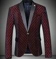 Borgonha terno casaco 2017 slim fit mens blazer de veludo vermelho do casamento de negócios de luxo vintage elegante terno vermelho masuclino