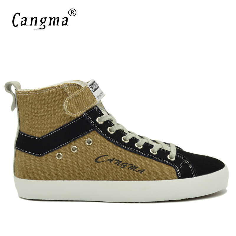 CANGMA Breathable Canvas Sneakers Men Boots Handmade Casual Shoes Man's Comfortable Retro Footwear Male Shoes Brown Ankle Boots peak sport men bas basketball shoes breathable comfortable sneakers athletic training wear resistant non slip ankle boots