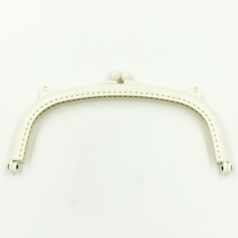 10Pcs Beige Purse Bag Plastic Clutch Arch Frame Kiss Clasps Buckle Handbag Handle 21x11cm