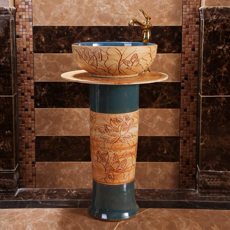 Ancient Pillar Basin Integrated Floor Type Ceramic Basin